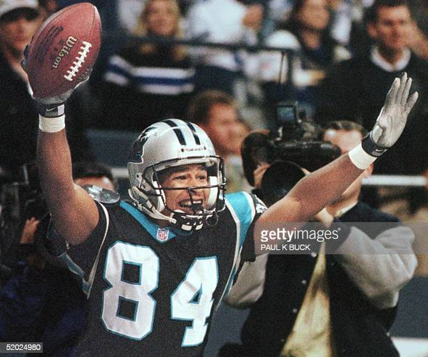 Carolina Panther wide receiver Rae Carruth celebrates his 15yard touchdown catch in the second quarter of play against the Dallas Cowboys at Texas...