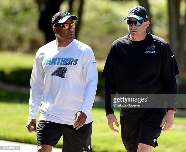 Carolina Panthers assistant head coach/secondary Steve Wilks left and offensive coordinator Mike Shula at the team's rookie camp on Saturday May 14...
