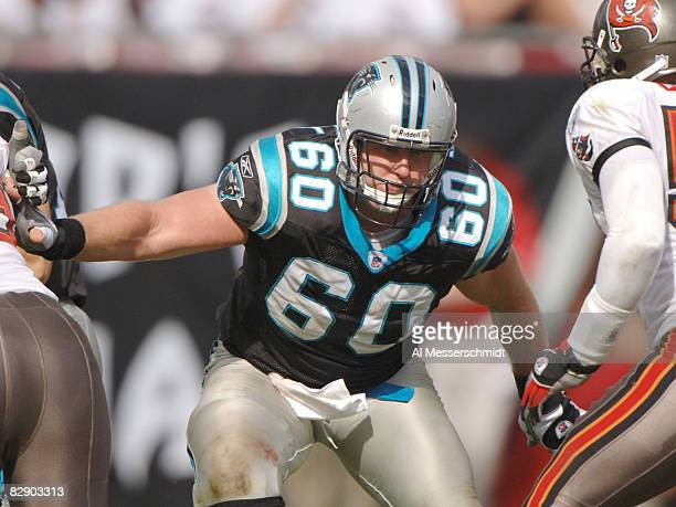 Carolina Panthers center Jeff Mitchell sets to block against the Tampa Bay Buccaneers November 6, 2005 in Tampa. The Panthers defeated the Bucs 34 -...
