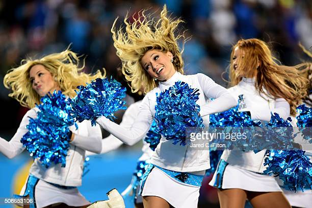 Carolina Panthers cheerleaders perform during the NFC Championship Game between the Arizona Cardinals and the Carolina Panthers at Bank of America...