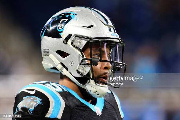 Carolina Panthers cornerback Corn Elder looks on during warmups before an NFL football game against the Detroit Lions in Detroit, Michigan USA, on...