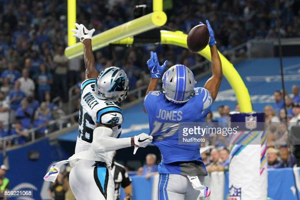 Carolina Panthers cornerback Daryl Worley is called for pass interference as Detroit Lions wide receiver TJ Jones attempts to catch a pass uring the...