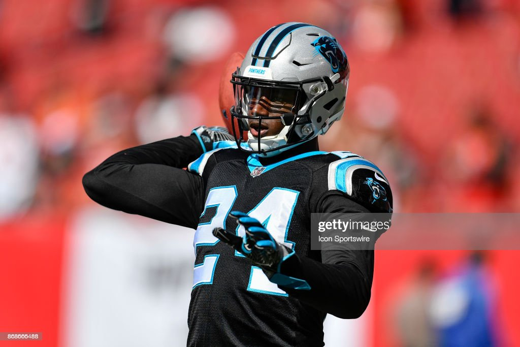 Carolina Panthers cornerback James Bradberry (24) prior to an NFL football game between the Carolina Panthers and the Tampa Bay Buccaneers on October 29, 2017, at Raymond James Stadium in Tampa, FL.