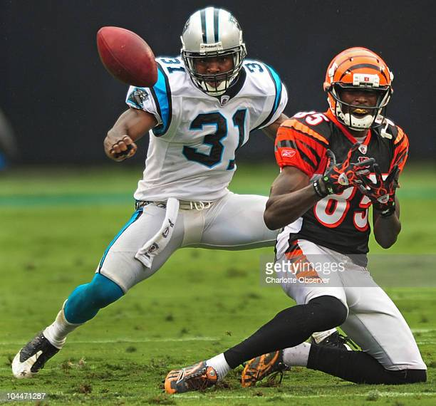 Carolina Panthers cornerback Richard Marshall pressures Cincinnati Bengals wide receiver Chad Ochocinco as a pass bounces away during secondquarter...