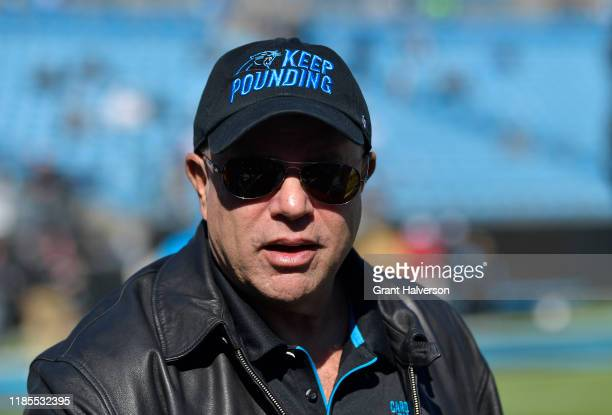 Carolina Panthers David Tepper during their game against the Tennessee Titans at Bank of America Stadium on November 03 2019 in Charlotte North...