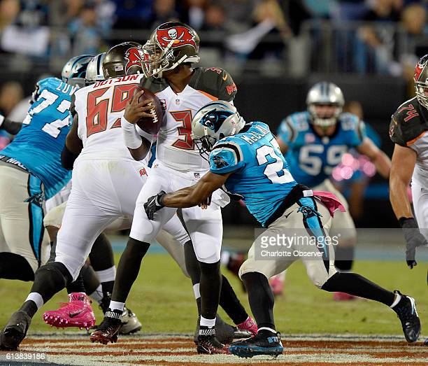 Carolina Panthers defensive back Robert McClain comes in to sack Tampa Bay Buccaneers quarterback Jameis Winston during the first half at Bank of...
