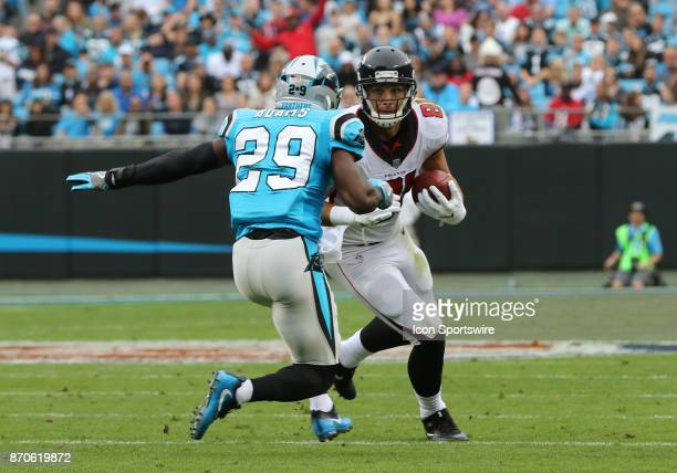 Carolina Panthers defensive back Teddy Williams and Atlanta Falcons tight end Austin Hooper during 1st half of the Carolina Panthers versus the...