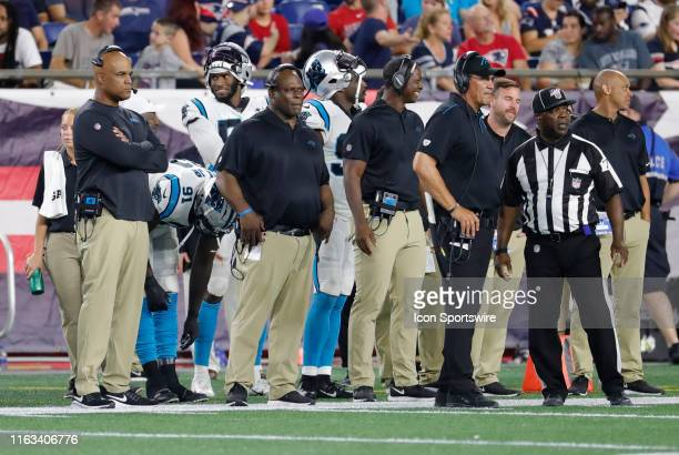 Carolina Panthers defensive coordinator Eric Washington and Carolina Panthers safeties coach Richard Rodgers look on during a preseason game between...