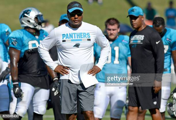 Carolina Panthers defensive coordinator Steve Wilks watches the team run through drills on Tuesday August 1 at Wofford College in Spartanburg SC