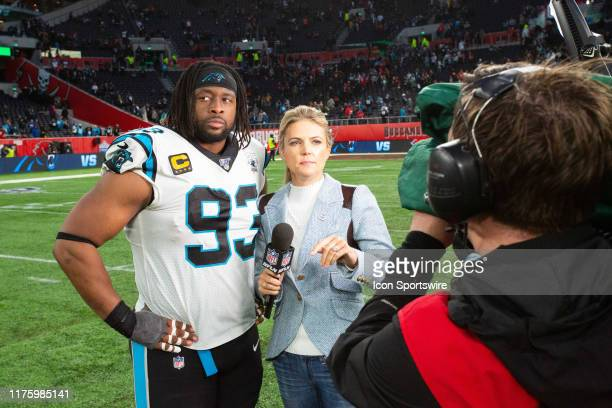 Carolina Panthers Defensive End Gerald McCoy chats with NFL Network's Melissa Stark after the game between the Carolina Panthers and the Tampa Bay...