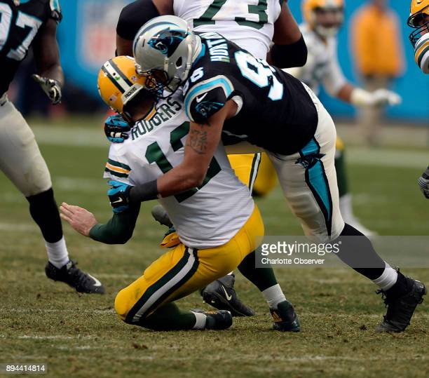 Carolina Panthers defensive end Wes Horton sacks Green Bay Packers quarterback Aaron Rodgers in the second half on Sunday Dec 17 2017 at Bank of...
