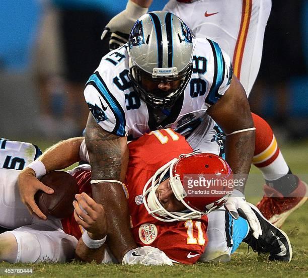 Carolina Panthers defensive tackle Star Lotulelei sacks Kansas City Chiefs quarterback Alex Smith during second quarter action on Sunday Aug 17 at...