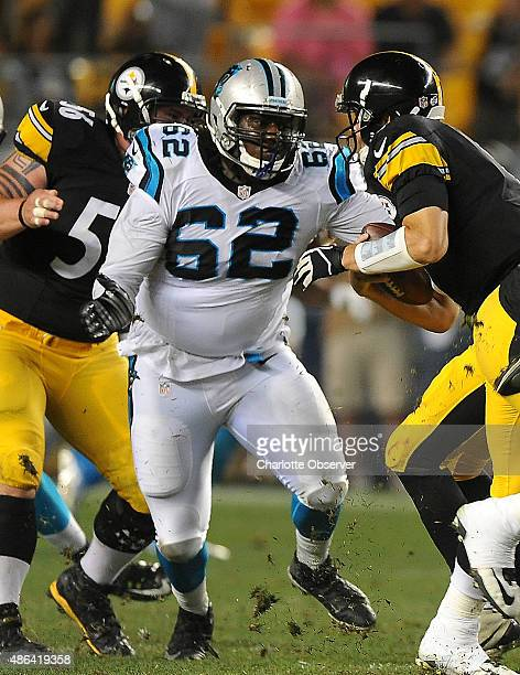 Carolina Panthers defensive tackle Terry Redden middle sacks Pittsburgh Steelers quarterback Landry Jones right during the fourth quarter in...
