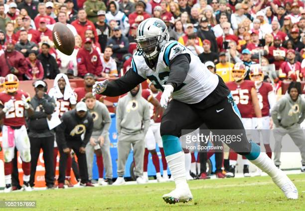 Carolina Panthers defensive tackle Vernon Butler nearly intercepts a deflected pass in the fourth quarter against the Washington Redskins on October...