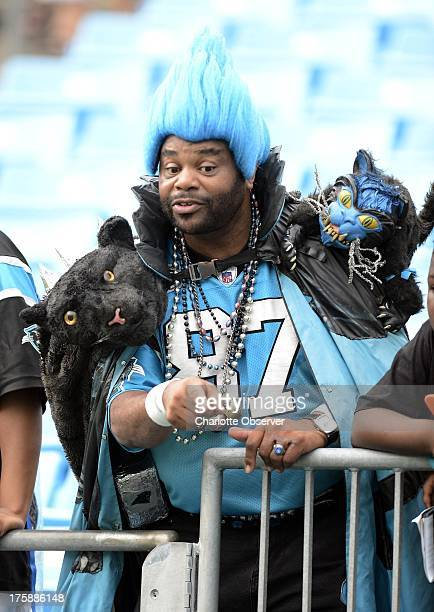 """Carolina Panthers fan Greg """"Catman"""" Good as the Panthers play host to the Chicago Bears in preseason action at Bank of America Stadium in Charlotte,..."""