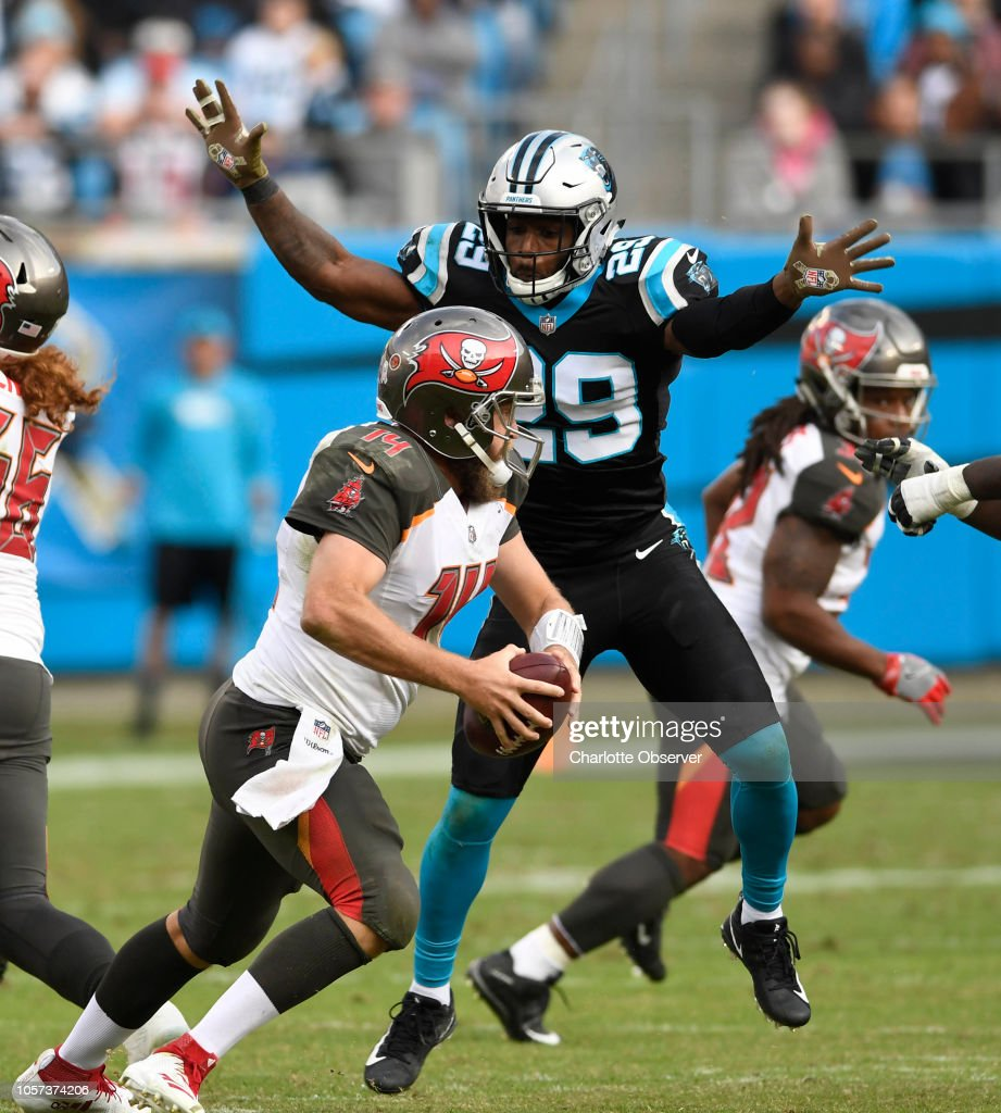 06d4783ee Carolina Panthers free safety Mike Adams pressures Tampa Bay... News ...
