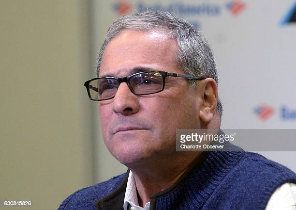 Carolina Panthers general manager Dave Gettleman listens as a member of the press asks a question during his end of season press conference on...