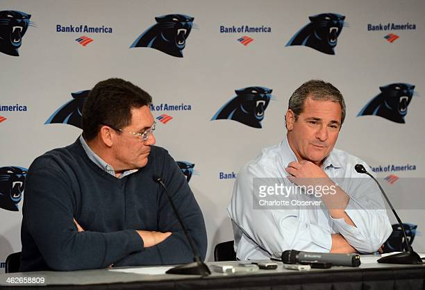Carolina Panthers head coach Ron Rivera and general manager Dave Gettleman address questions from the media during a press conference on Tuesday...