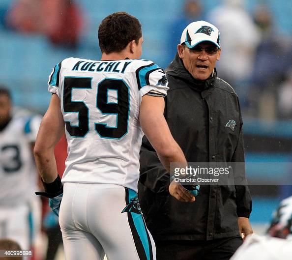 Carolina Panthers head coach Ron Rivera greets linebacker ...