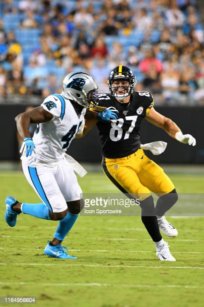 Carolina Panthers linebacker Antwione Williams covers Pittsburgh Steelers tight end Kevin Rader on the play during the preseason game between the...