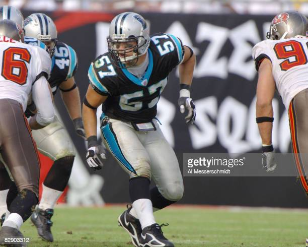 Carolina Panthers linebacker Sean Tufts sets for play against the Tampa Bay Buccaneers November 6 2005 in Tampa The Panthers defeated the Bucs 34 14