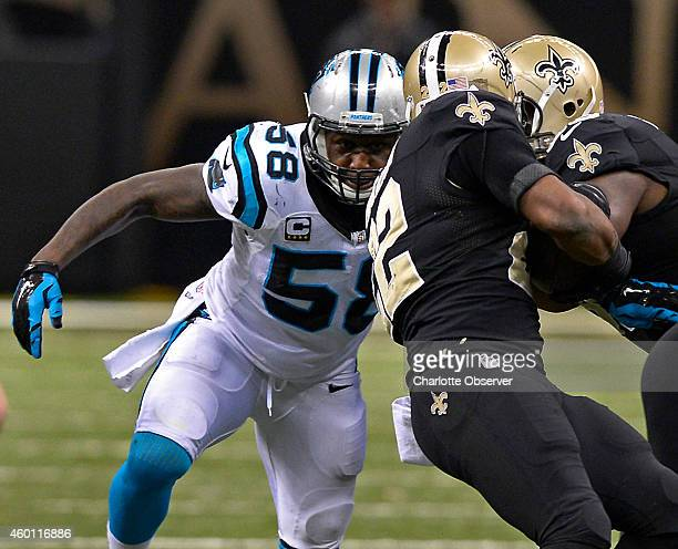 Carolina Panthers linebacker Thomas Davis prepares to make the tackle on New Orleans Saints running back Mark Ingram during third quarter action on...
