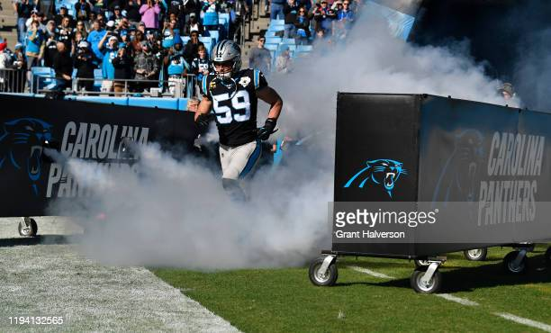 Carolina Panthers middle linebacker Luke Kuechly takes to the field against Seattle Seahawks in the game at Bank of America Stadium on December 15...