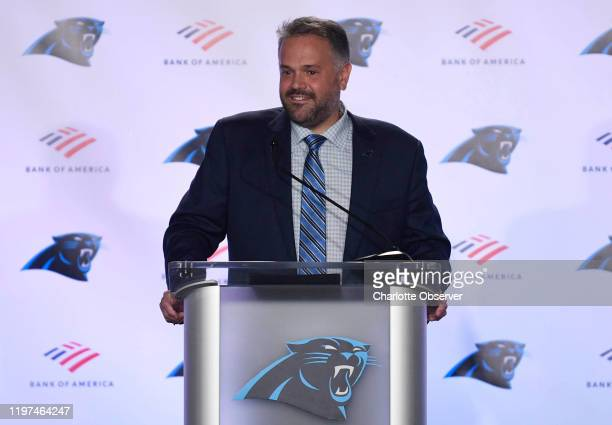 Carolina Panthers new head coach Matt Rhule during an introductory news conference at Atrium Health Dome in Charlotte NC on January 8 2020 The...
