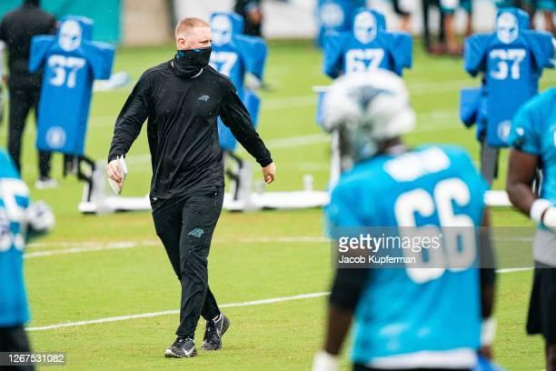 Carolina Panthers Offensive Coordinator Joe Brady during the Carolina Panthers Training Camp at Bank of America Stadium on August 21, 2020 in...