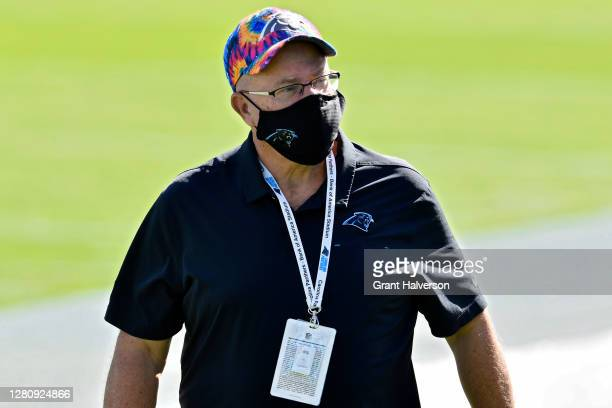 Carolina Panthers owner David Tepper walks across the field before the game against the Chicago Bears at Bank of America Stadium on October 18, 2020...