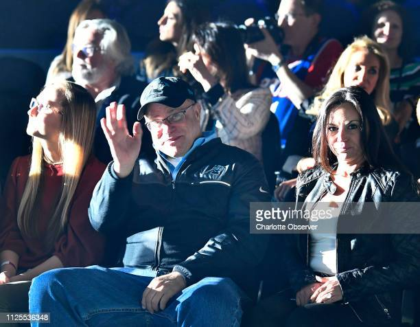 Carolina Panthers owner David Tepper waves prior to the NBA AllStar Game at Spectrum Center in Charlotte NC on Sunday February 17 2019