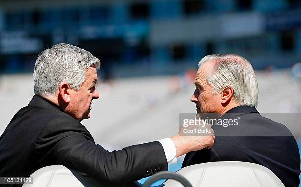 Carolina Panthers owner Jerry Richardson talks with Chicago Bears chairman Mike McCaskey prior to the Bears game against the Panthers at Bank of...