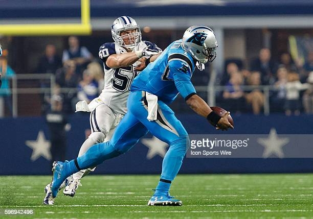 Carolina Panthers Quarterback Cam Newton [14697] is chased by Dallas Cowboys Linebacker Sean Lee [10312] during the NFL Thanksgiving game between the...