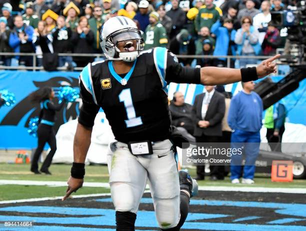 Carolina Panthers quarterback Cam Newton celebrates a touchdown against the Green Bay Packers in the second half on Sunday Dec 17 2017 at Bank of...
