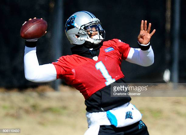 Carolina Panthers quarterback Cam Newton during practice on Thursday Jan 21 in preparation for Sunday's NFC Championship game against the Arizona...