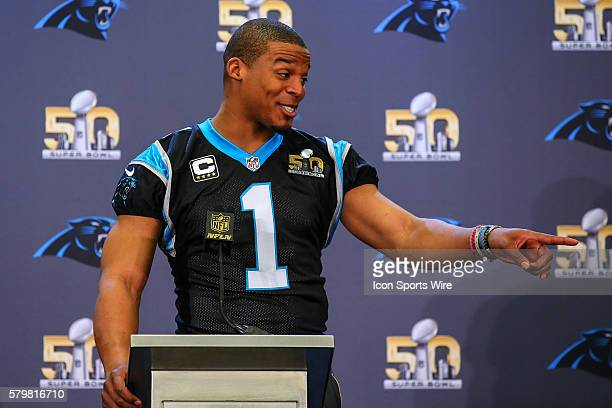Carolina Panthers quarterback Cam Newton during the Carolina Panthers press conference held at the San Jose Marriott in San Jose California