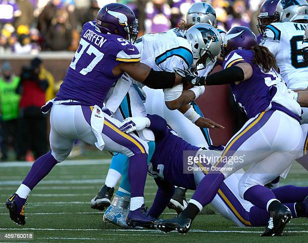 Carolina Panthers quarterback Cam Newton is sacked by Minnesota Vikings defensive end Everson Griffen during fourth quarter action on Sunday Nov 30...