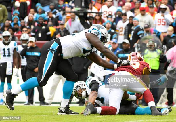 Carolina Panthers quarterback Cam Newton is sacked by Washington Redskins linebacker Zach Brown on October 14 at FedEx Field in Landover MD The...