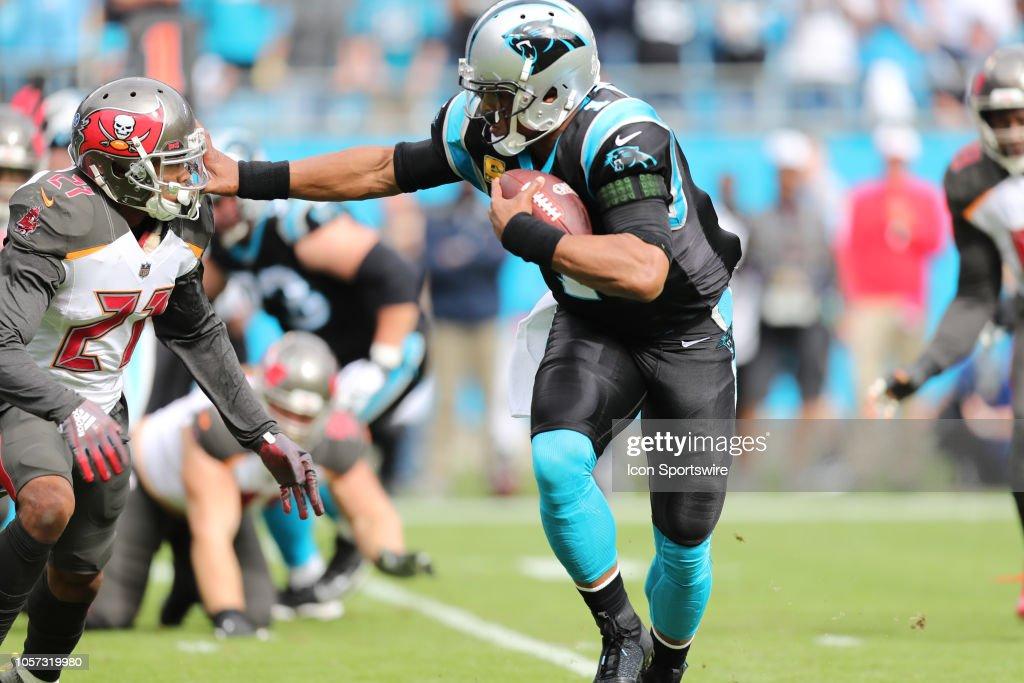 Carolina Panthers quarterback Cam Newton pushes Tampa Bay ...