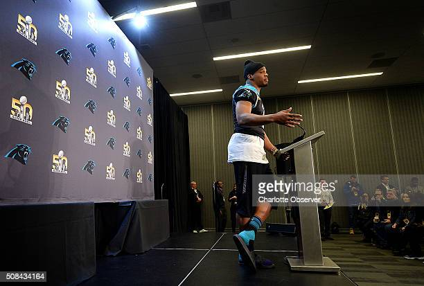 Carolina Panthers quarterback Cam Newton responds to a question during his press conference during the media availability session on Thursday, Feb....