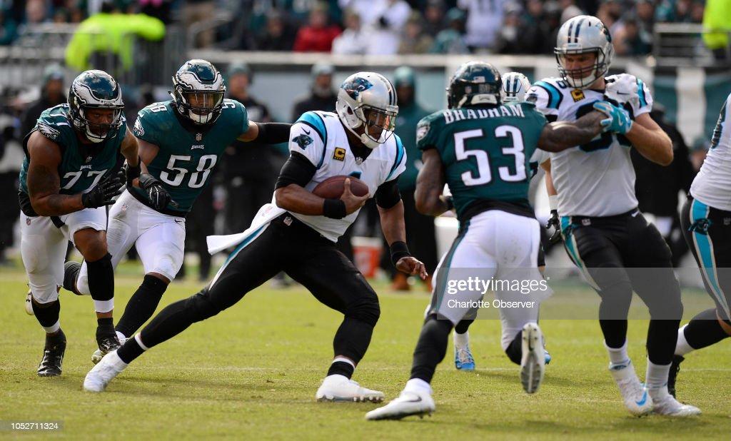 Carolina Panthers quarterback Cam Newton tries to run for ...