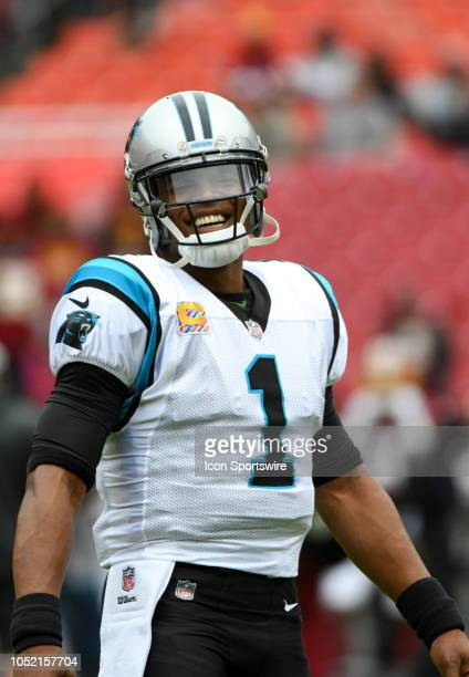Carolina Panthers quarterback Cam Newton warms up prior to the game against the Washington Redskins on October 14 at FedEx Field in Landover MD The...