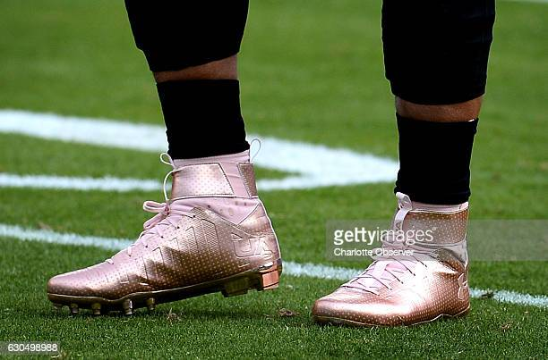 Carolina Panthers quarterback Cam Newton wears a pair of rose gold cleats during warmups ahead of play against the Atlanta Falcons on Saturday Dec 24...
