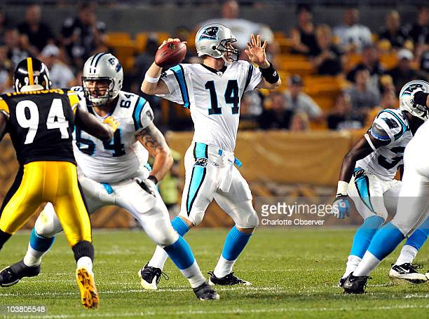 Carolina Panthers quarterback Hunter Cantwell gets time to pass as offensive linesman Rob Petitti blocks Pittsburgh Steelers linebacker Lawrence...