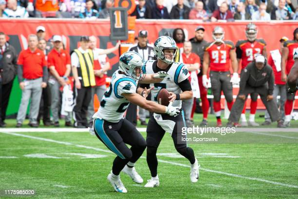 Carolina Panthers Quarterback Kyle Allen fakes a handoff during the game between the Carolina Panthers and the Tampa Bay Buccaneers on October 13th,...