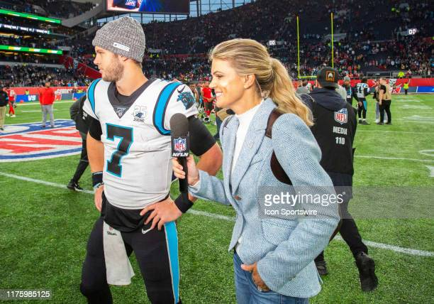 Carolina Panthers Quarterback Kyle Allen talks with NFL Network's Melissa Stark after the game between the Carolina Panthers and the Tampa Bay...