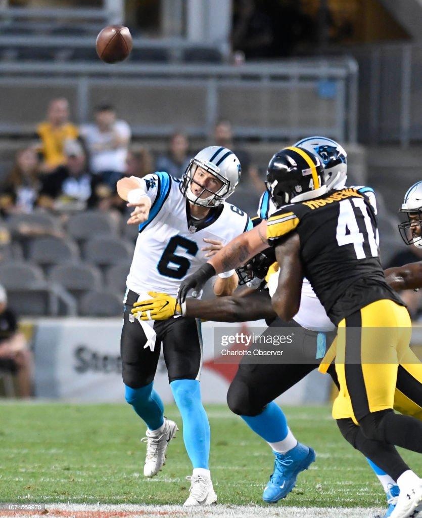 Carolina Panthers quarterback Taylor Heinicke throws ...