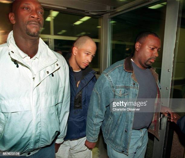 Carolina Panthers' Rae Carruth center walks away from the Mecklenburg County Jail after making bond late Monday night December 6 1999 in Charlotte NC