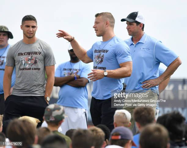 Carolina Panthers RB Christian McCaffrey center gives an inspirational talk to young football players at the McCaffrey Football Camp at Valor...