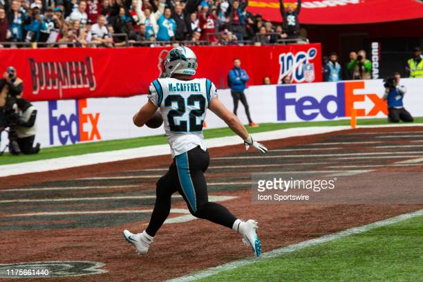 Carolina Panthers Running Back Christian McCaffrey enters the end zone unimpeded during the game between the Carolina Panthers and the Tampa Bay...